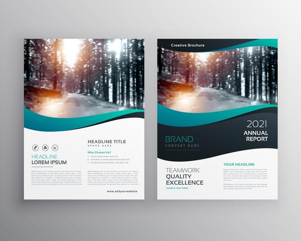 creative business brochure leaflet vector design with wavy shape