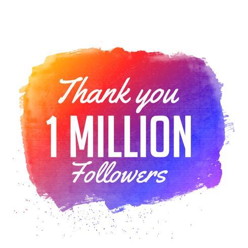 tack 1 miljoner följare vektor design med svart vattenkolo
