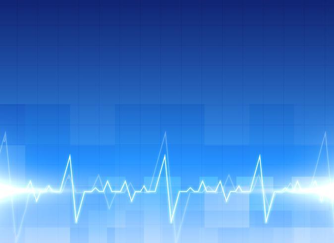 Medicinsk elektrokardiogram bakgrund i blå färg