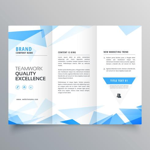 Abstract Blue Shape Trifold Business Brochure Design  Download Free