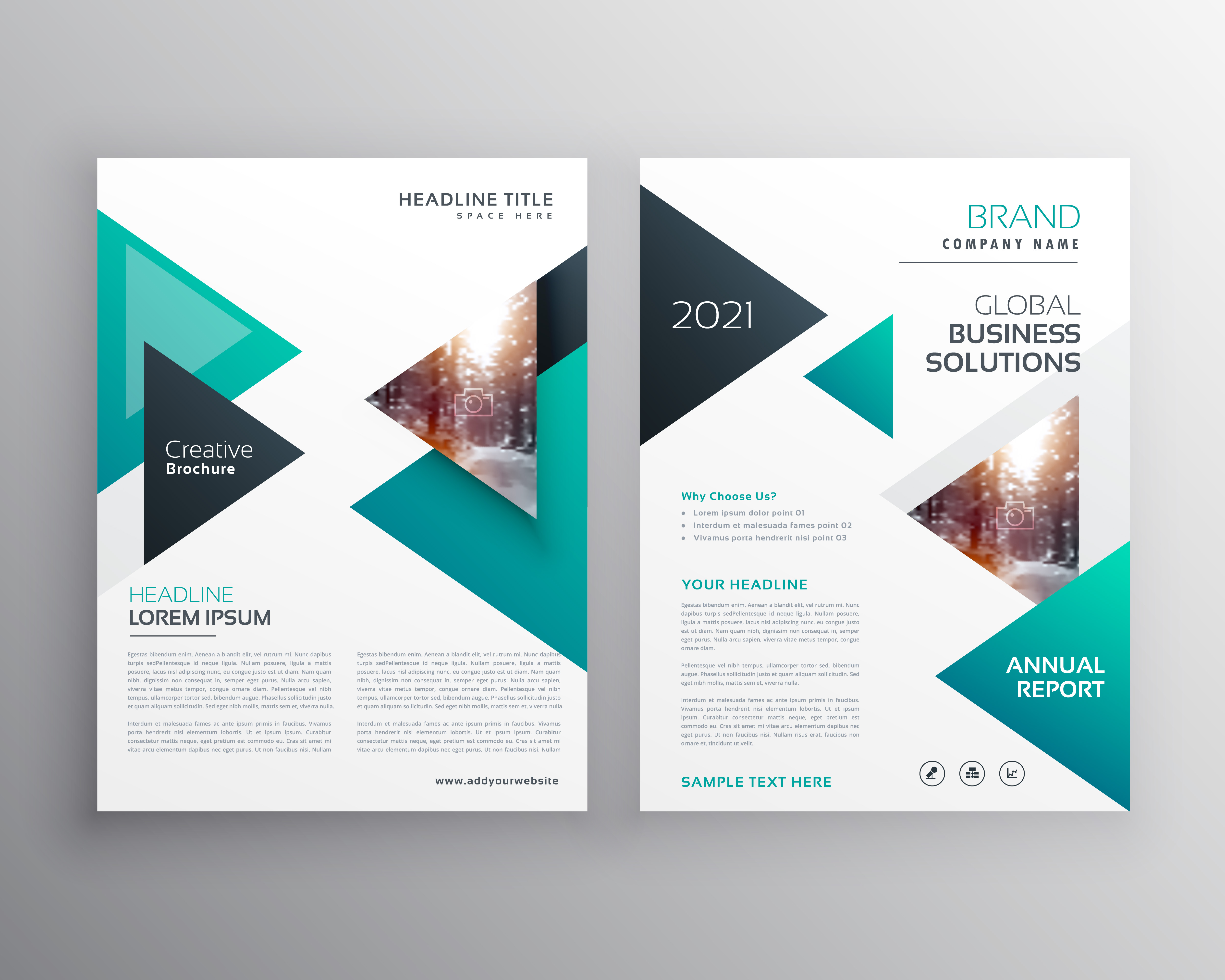 geoemtric triangles business flyer brochure vector template download free vector art stock. Black Bedroom Furniture Sets. Home Design Ideas