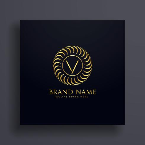 luxury letter V logo concept design in golden color