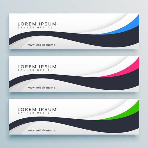 clean wavy three header banner design template