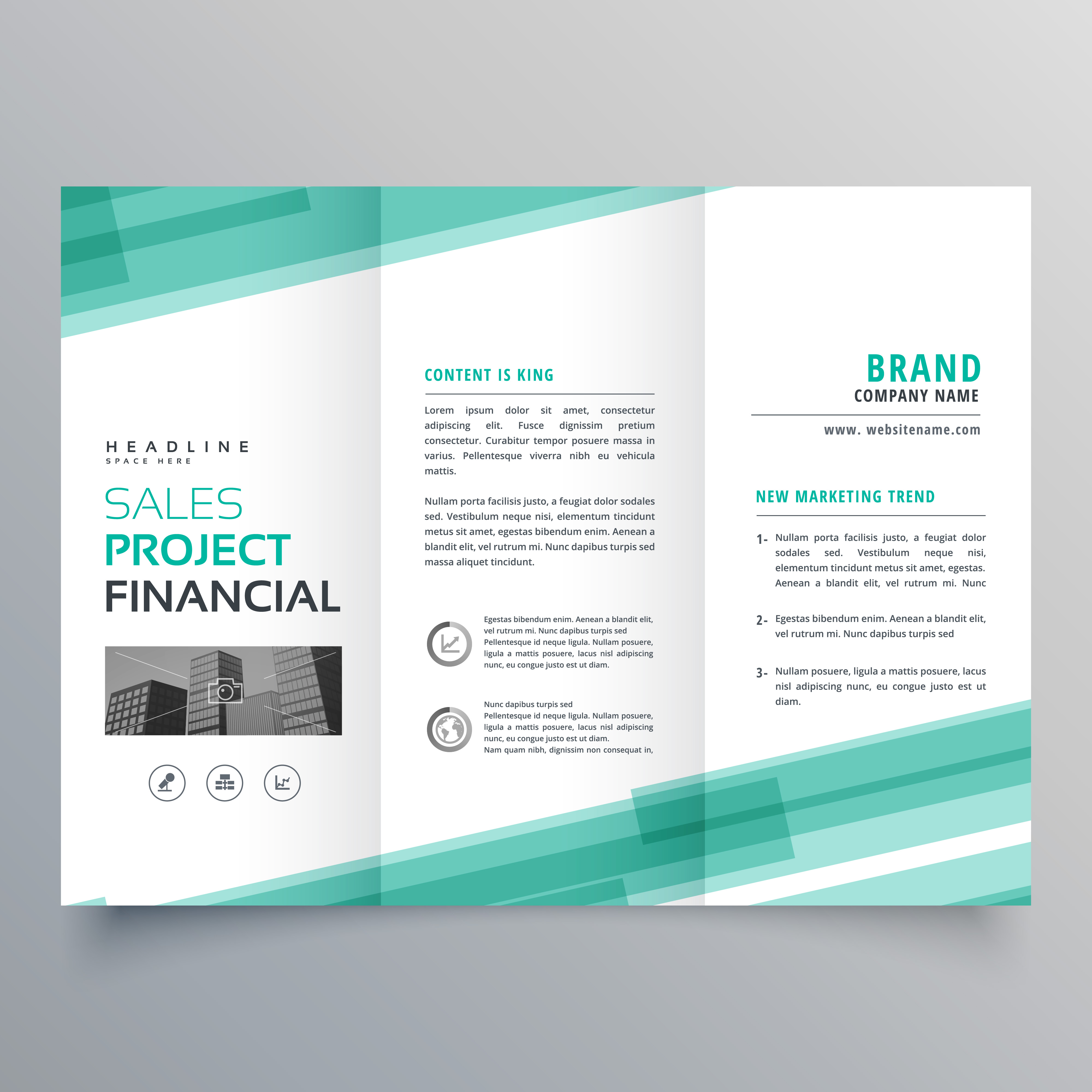 diseño de folleto plantilla tríptico verde abstracto - Descargue ...