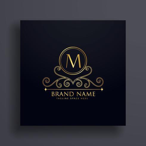 premium letter M logo concept design with decorative element