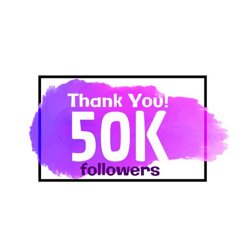 médias sociaux 50k suiveurs succès conception d'affiche