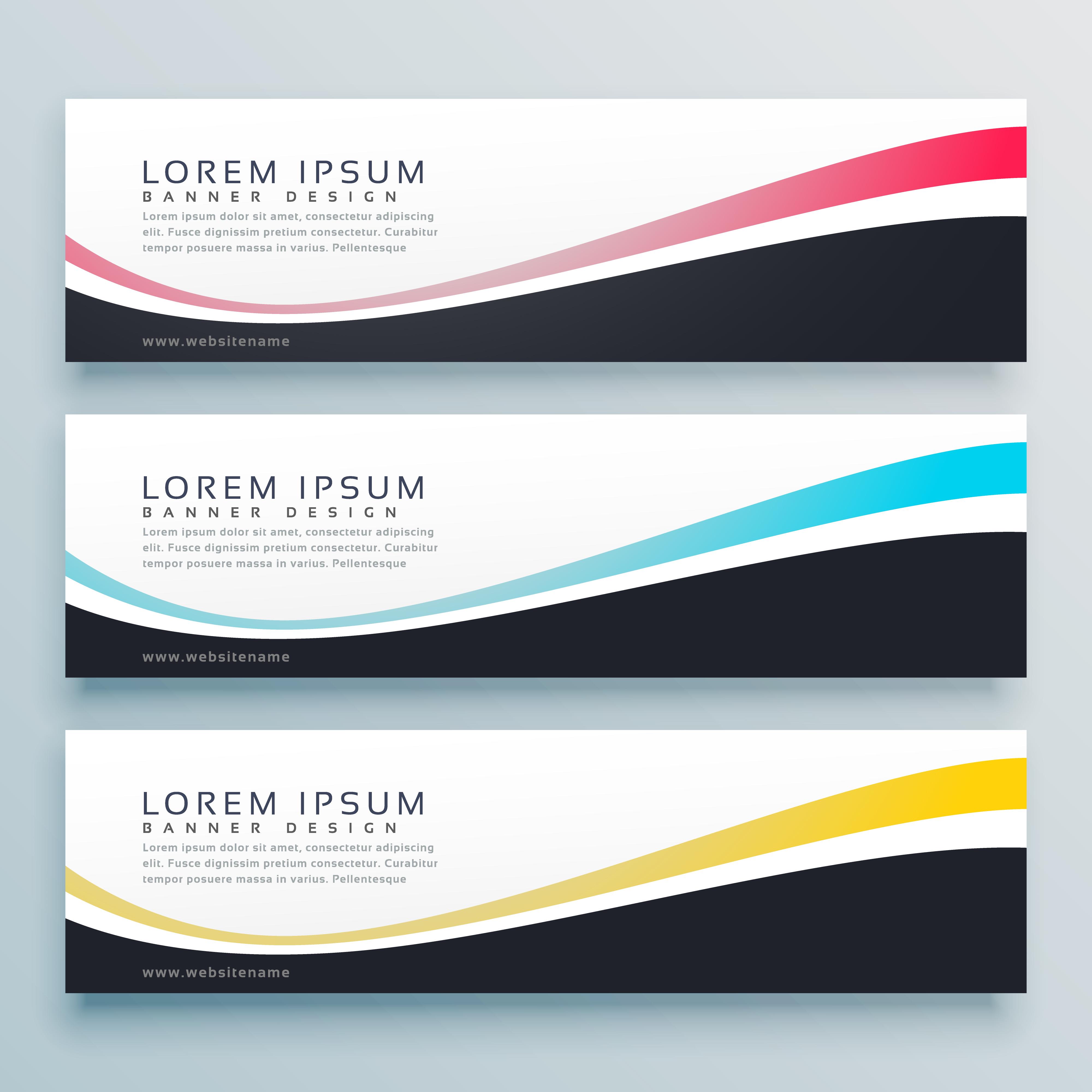 three wavy banners vector design - Download Free Vector ...