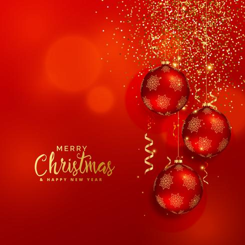 shiny christmas background with golden glitter and confetti