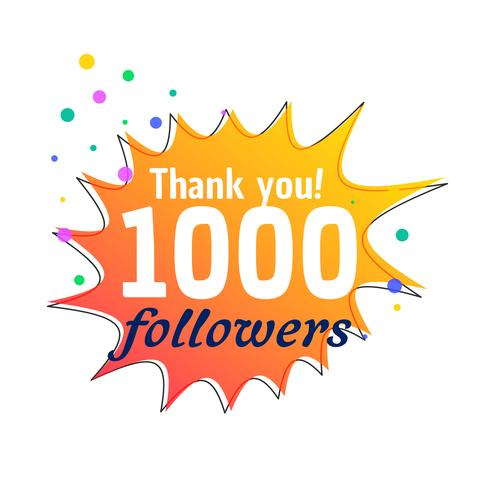 1000 followers success thank you message for social network