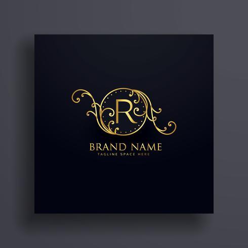 diseño de concepto de logotipo real letra r premium