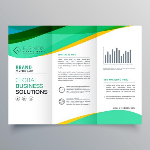 wavy green trifold business brochure vector design