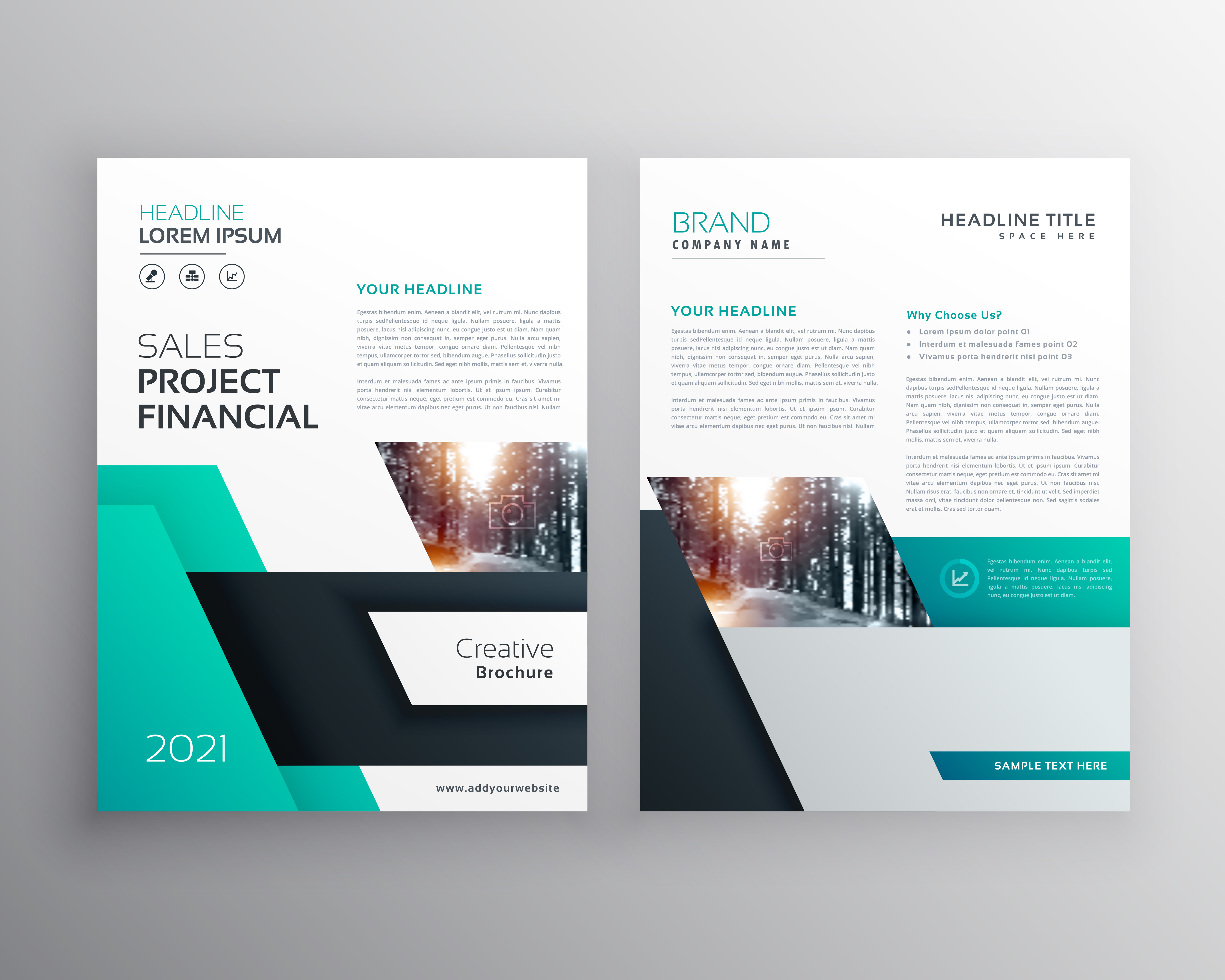 Modern geometric busines flyer poster brochure design for Modern brochure template