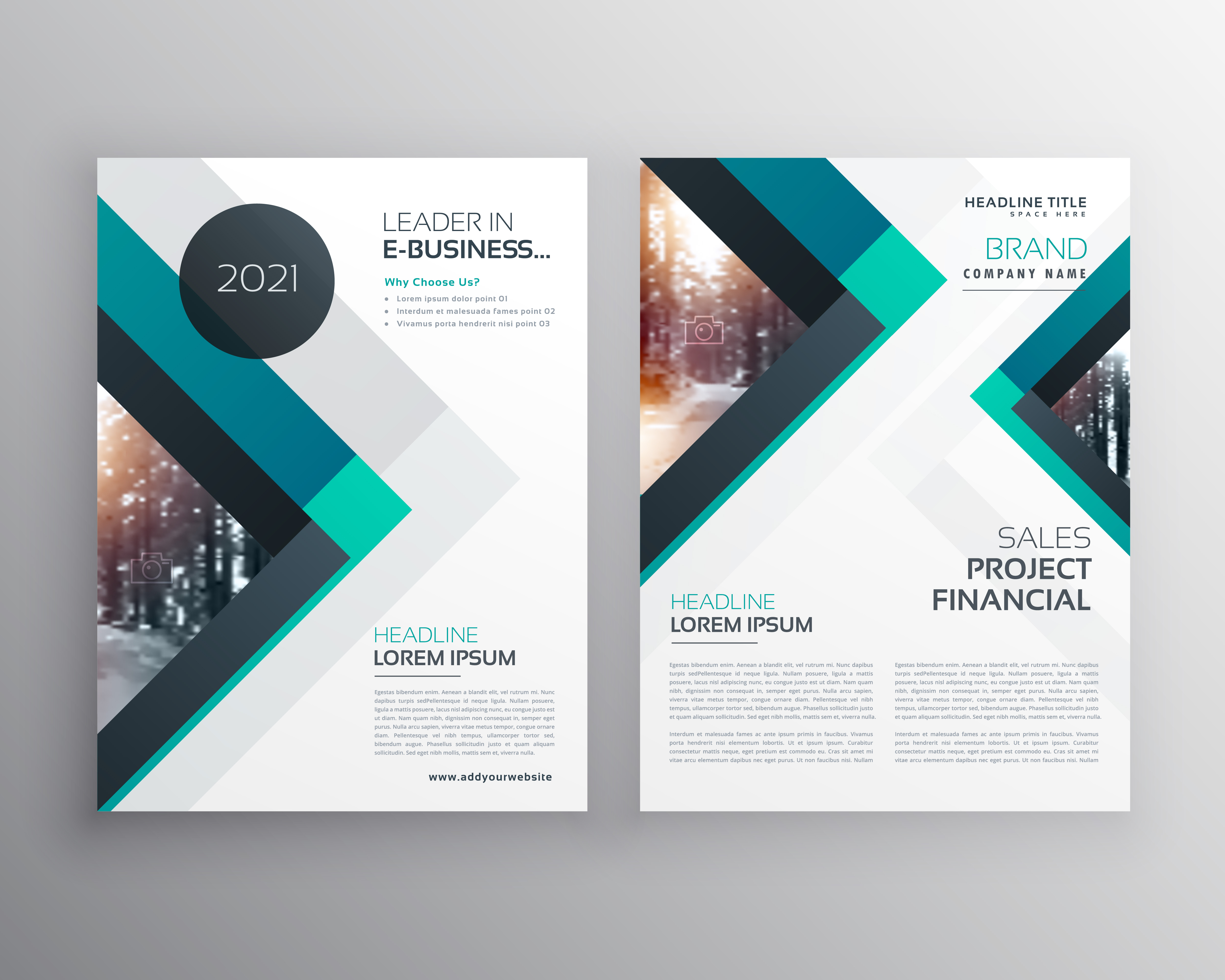 technical brochure template - abstract blue business brochure flyer design template with