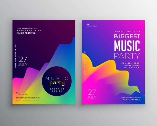 vibrante musique abstraite fête événement flyer affiche modèle conception