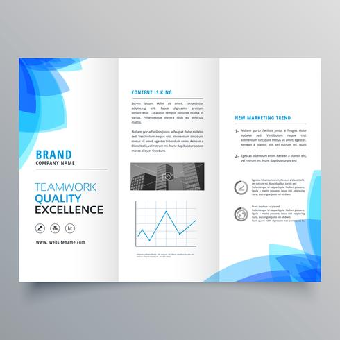 Trifold Brochure Template Design With Abstract Blue Shapes - Folded brochure template