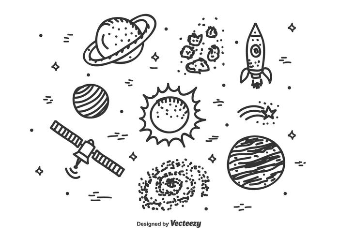 Cosmos ikoner vektor uppsättning