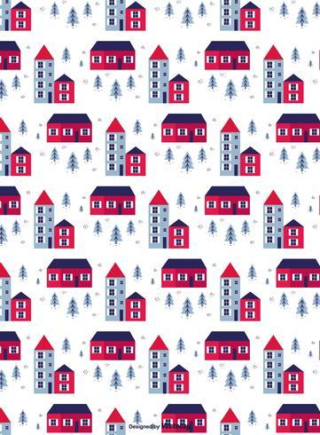 Winter Town Vector Pattern