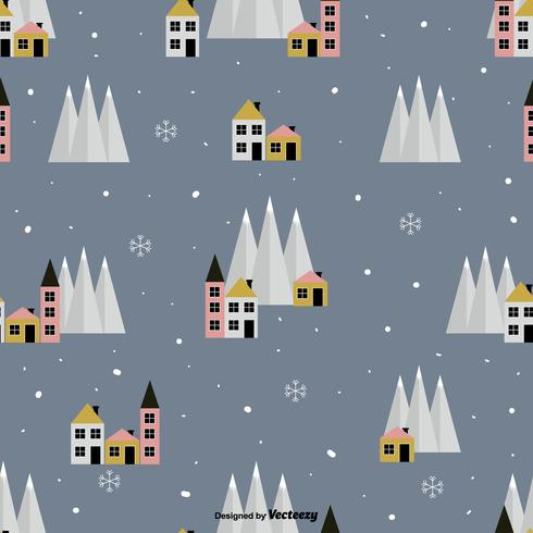 Winter Village Vector Pattern