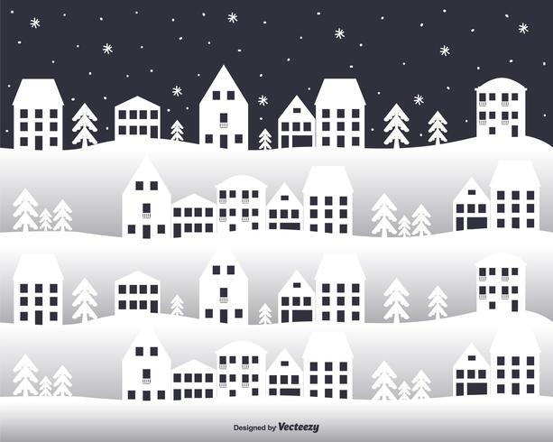 City In Winter Vector Background