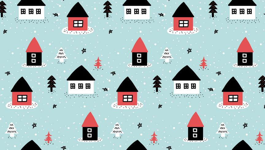 Doodle Winter House patroon