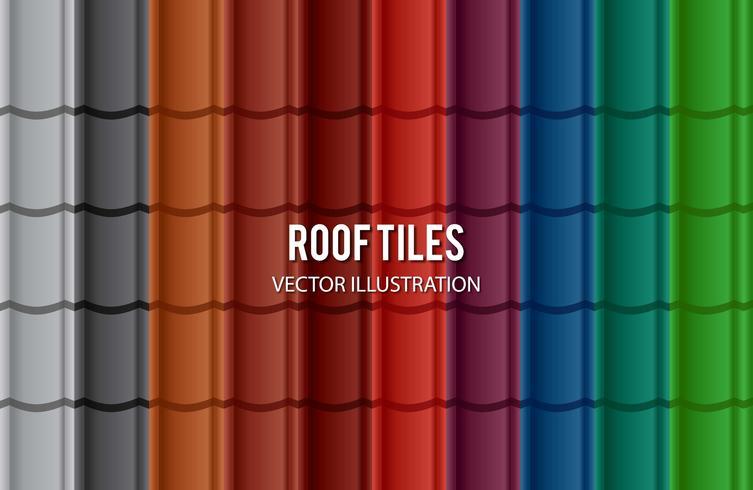 Conjunto de teja de techo de diferente color vector