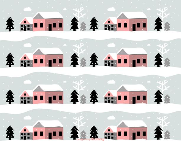 Winter Landscape Vector Pattern