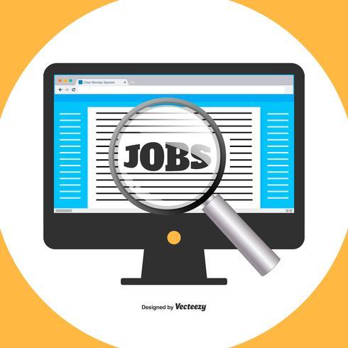 Flat Style Illustraion av jobbsökning på dator