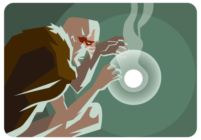 Old Shaman And The Light Ball Vector