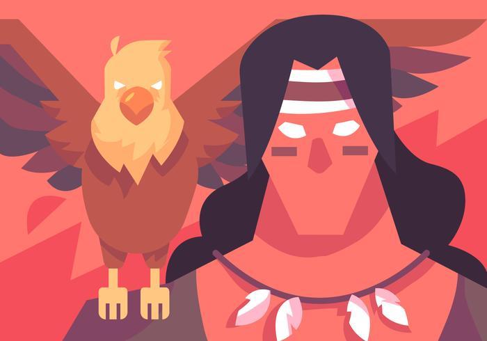 shaman och örnvektor