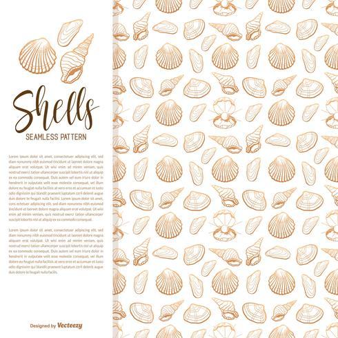 Hand Drawn Sea Shells Vector Seamless Pattern