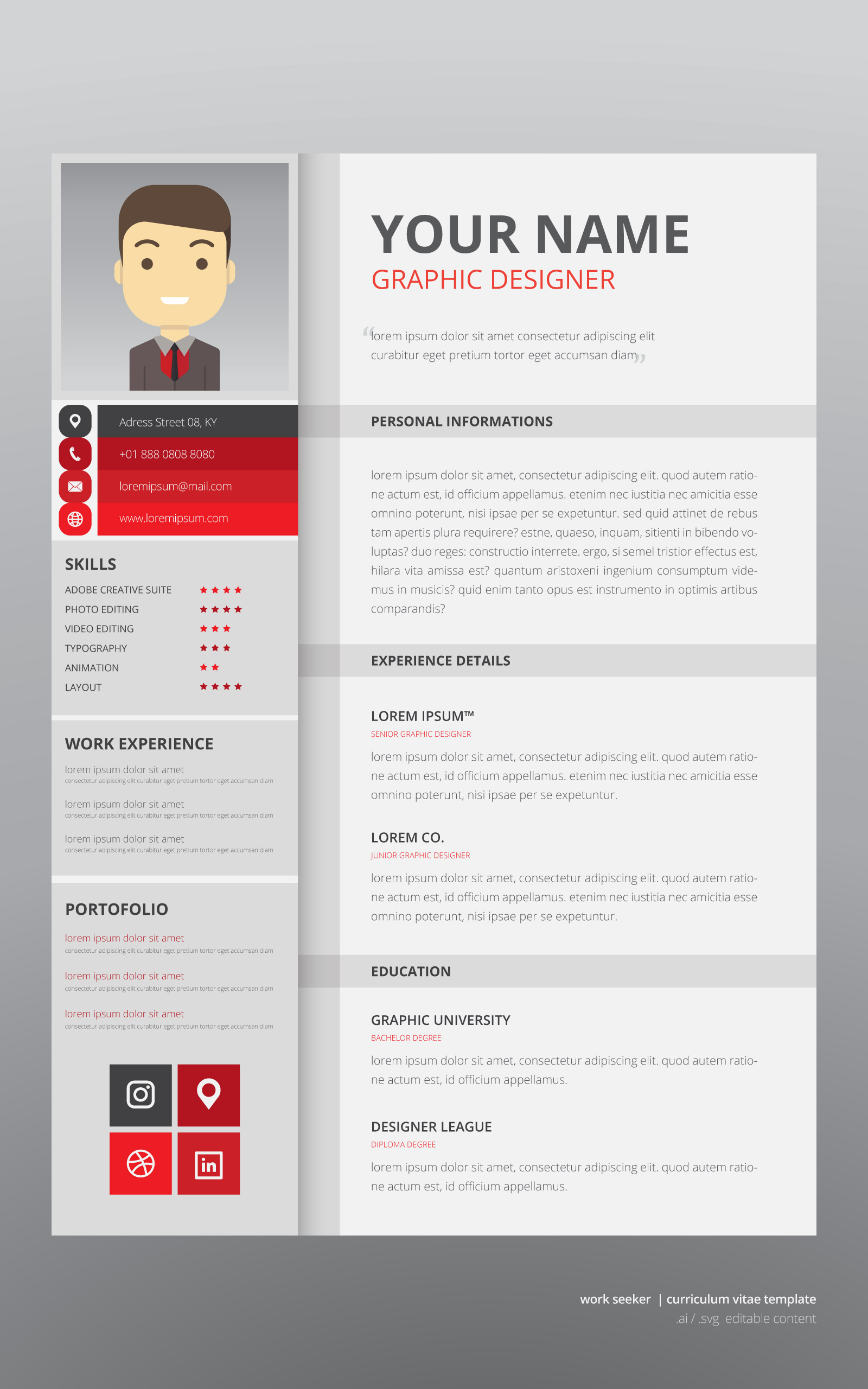 job search curriculum vitae template