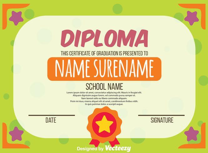 Green Kids Diploma Certificate Vector