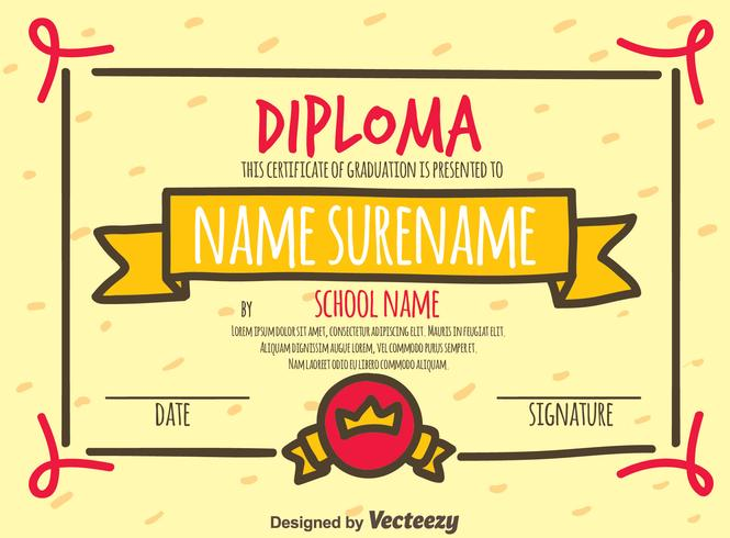 Hand Drawn Diploma Certificate Vector
