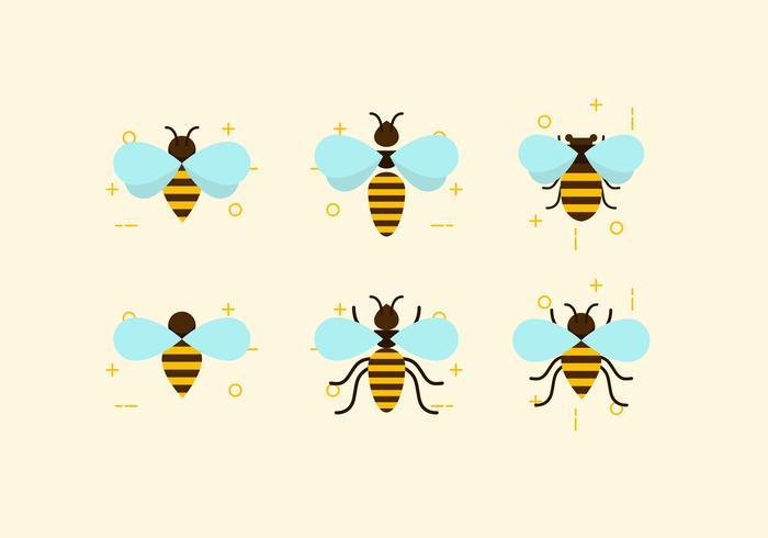 Flat Six Bees Vectors