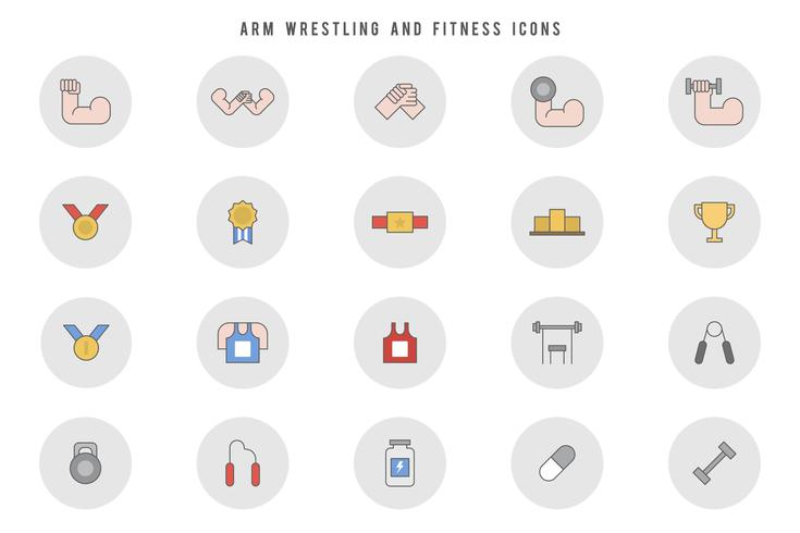 Free Arm Wrestling and Fitness Vectors