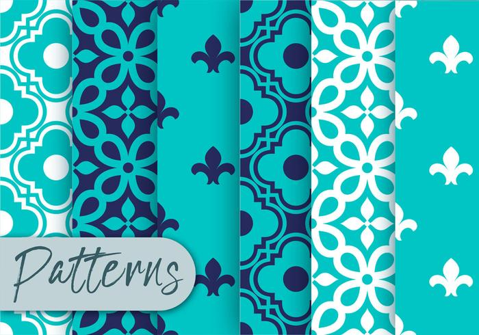Set di motivi decorativi blu