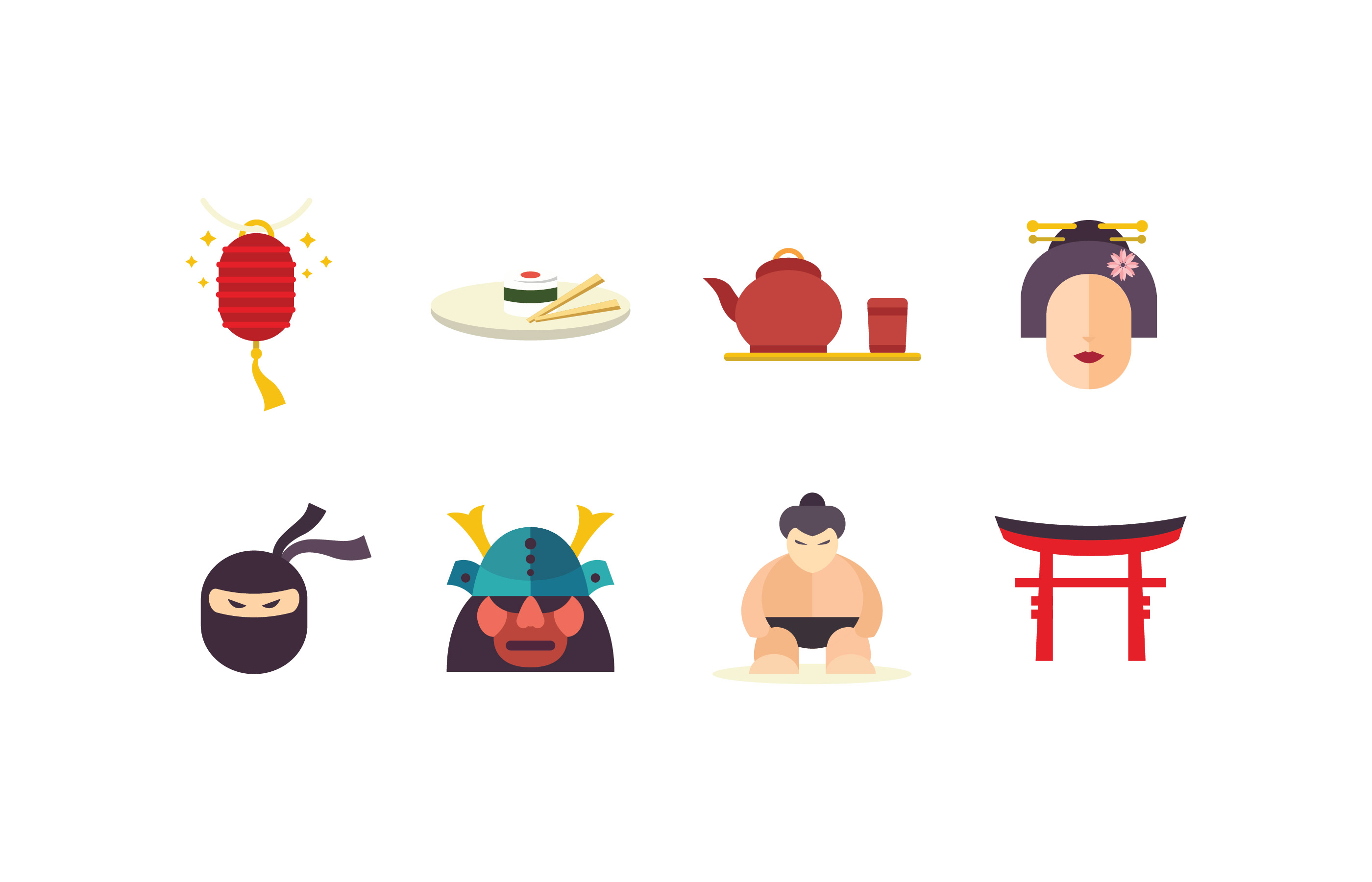 Japan Flat Icon Pack -...