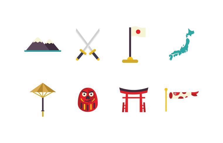 Japan platt ikonuppsättning