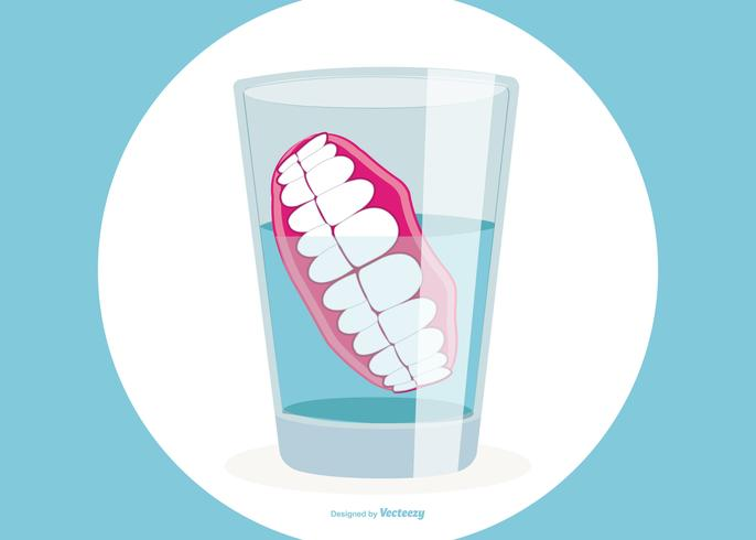 Dentures i glas vatten illustration
