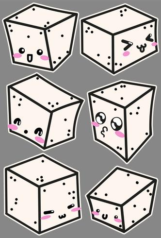 Vector Tofu Cheese Icons With Cute Faces