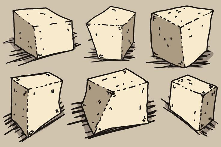 Illustration de Style Cartoon Vector Tofu Cheese