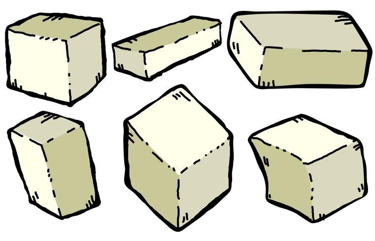 Jogo de ilustração de estilo de desenho de queijo de tofu de vetor