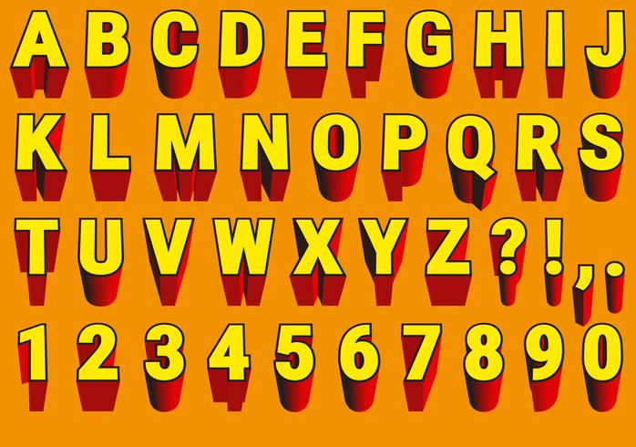 Vector Red And Yellow 3d Font