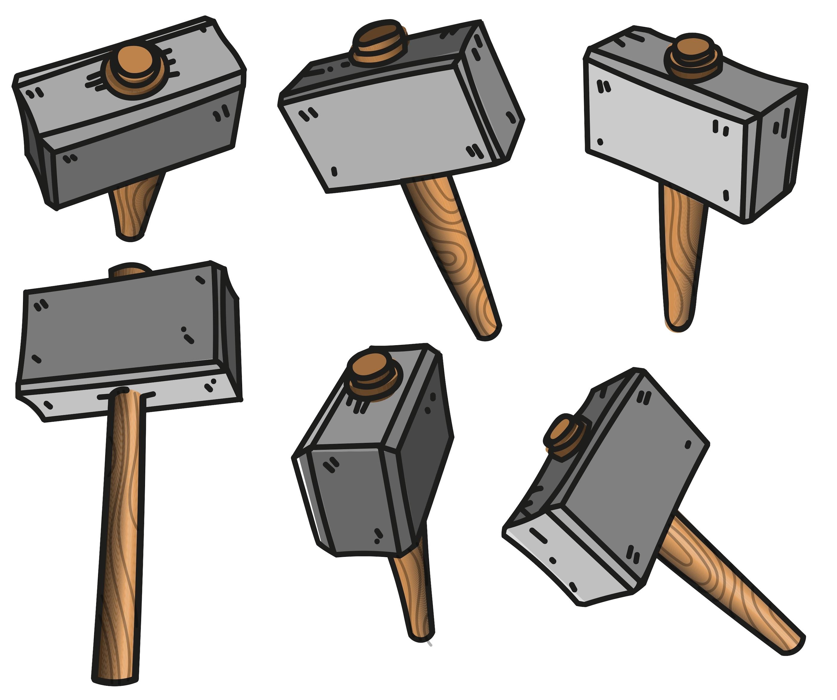 Vector Illustration Hammer: Vector Sledgehammer Flat Cartoon Icons