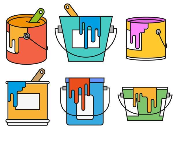 Conjunto de iconos de Vector Paint Pot Color