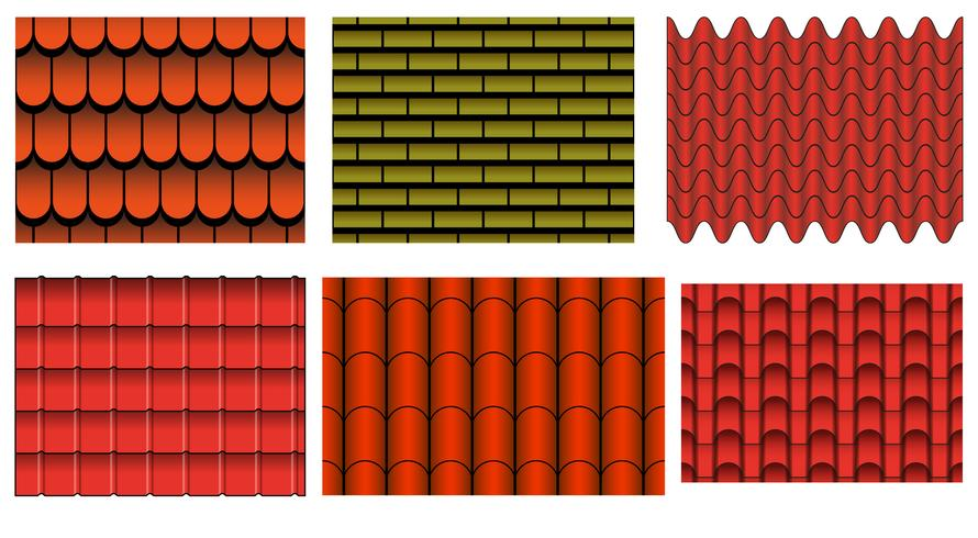 Vector Set Of Roof Tiles Pattern