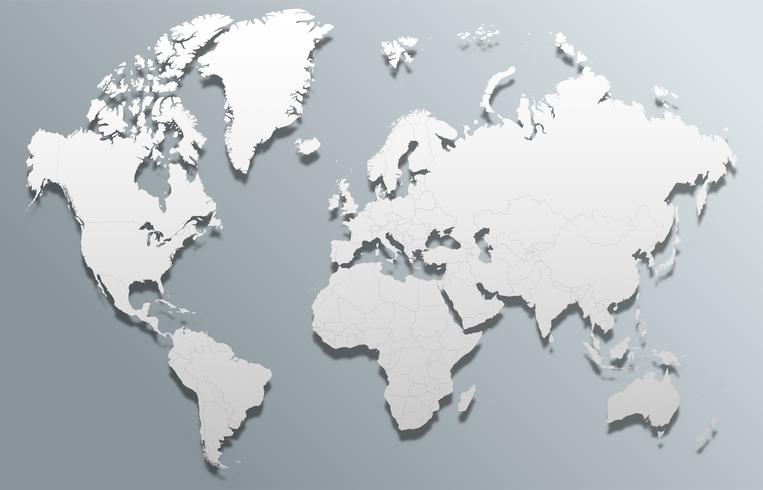 Carte du monde global de vecteur 3d