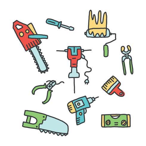 Doodles d'outils de construction pneumatiques et autres