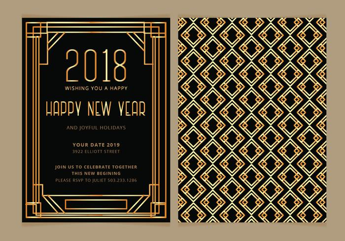 vector art deco new year party invite