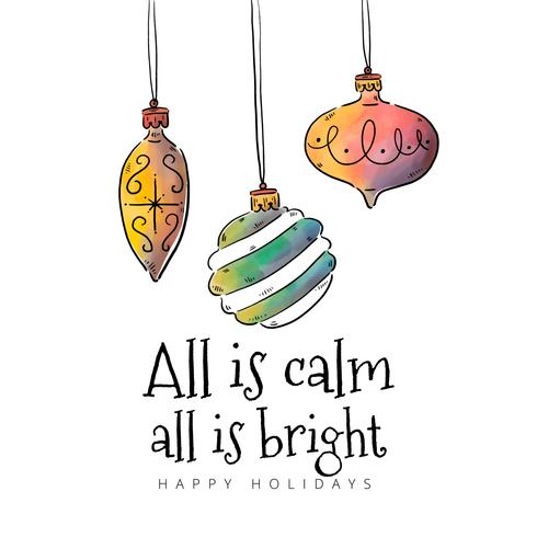All is Calm All is Bright Christmas Ornament Background Vector